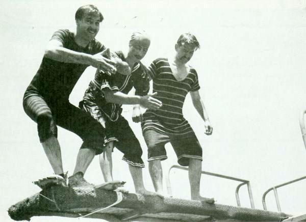 "Left to right: Jack Dunham, Joe Rinaldi and Curt Perkins at Nasconian Club - Disney's ""Snow White"" party, 1938"