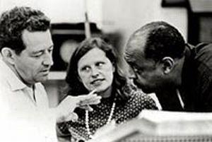 John and Faith Hubley, left, with jazz musician Benny Carter