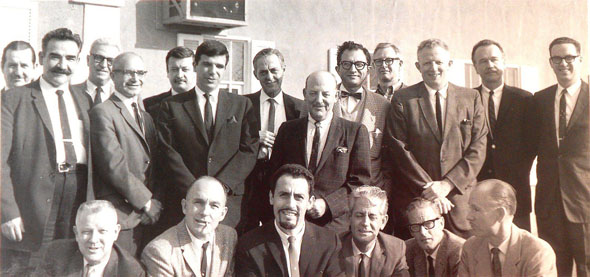 The Incredible Mr. Limpett crew (back row, l to r): Bob McKimson, Bill Tytla, Harry Love, Tom O'Loughlin, Dave De Patie, Treg Brown, Friz Freleng, Lee Halpern, Bob Matz, Lew Irwin, Hawley Pratt, Bill Orcutt; (front row, l to r): Gerry Chiniquy, Art Leonardi, O. B. Barkley, John Dunn and Virgil Ross