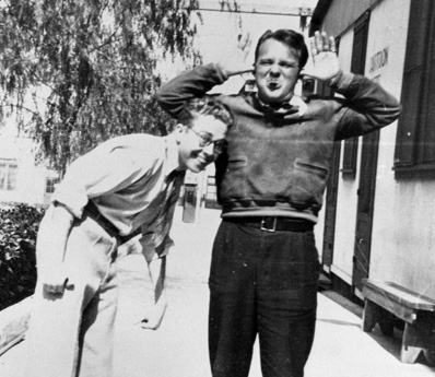 This photograph of Cal Howard (leaning in) and Tex Avery standing in front of the Universal Cartoon Department is courtesy of Michael Barrier.