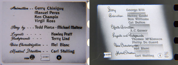 The credits from Tweetie Pie (left) and Mouse Menace (right), off the negatives. Thank David Gerstein. More about Tweety's titles here.