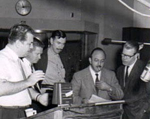 Mel Blanc records a commercial spot at Quartet Films.