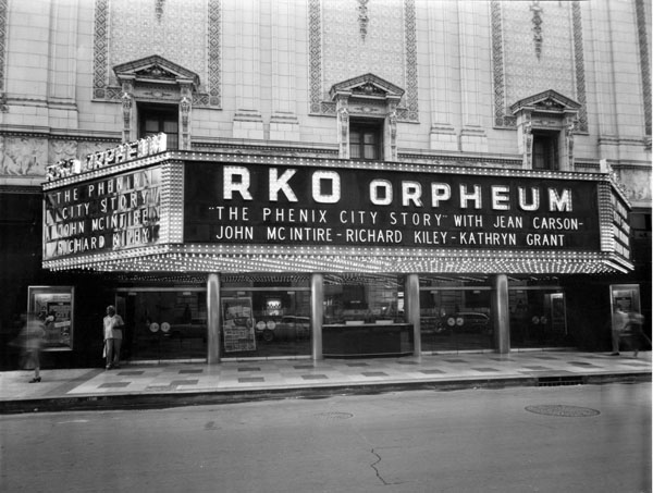 """The Orpheum Theatre in New Orleans in 1955 (playing a film starring Kathryn Grant - the voice of Princess Yasminda in UPA's """"1001 Arabian Nights"""""""