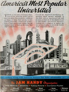 An ad showcasing the Jam Handy Organization cinematic approach to industrial film productions for sponsored film productions shown in theaters.